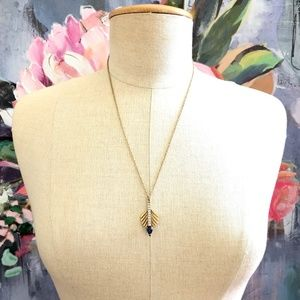 Banana Republic Feather Crystal Drop Necklace NWT